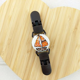 Graffiti wind sailing - brown, orange. Handkerchief folder / Universal clip / Toys clip / stud clip