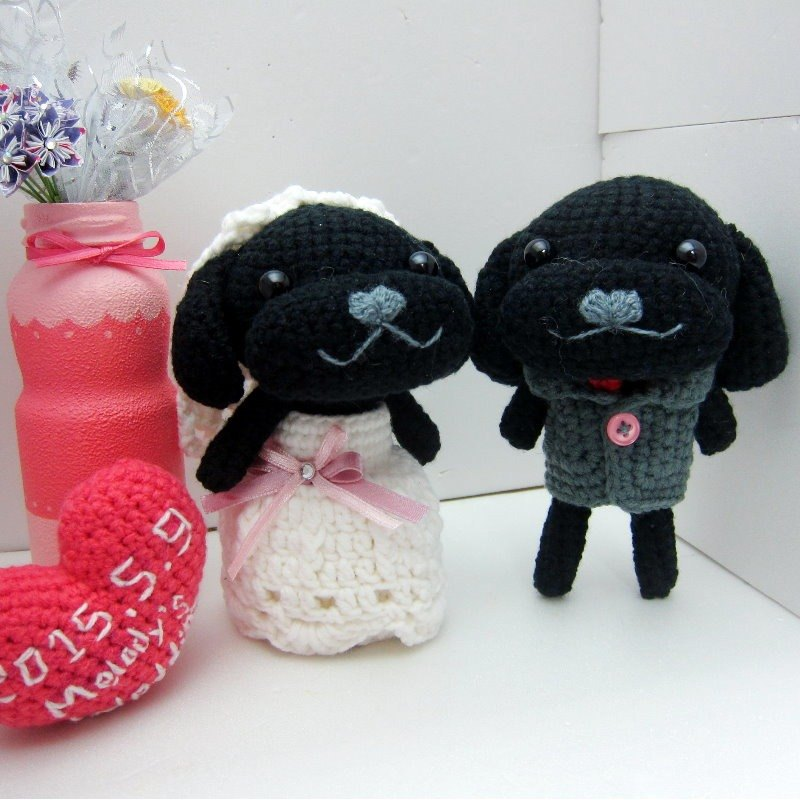 VIP black dog. Wedding Doll (customized part of your wedding dolls)