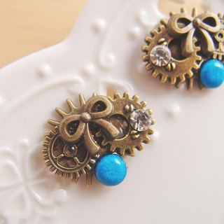 Steam Punk [CR0163] gear bow earrings blue turquoise x-ear / do cramping hypoallergenic stainless steel needle