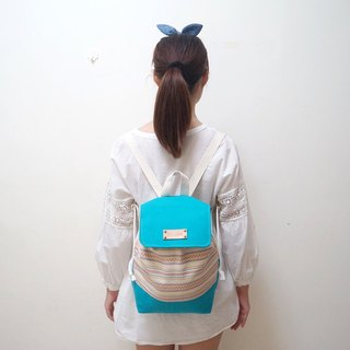 When the national white encounter blue backpack / free English print letters leather superscript