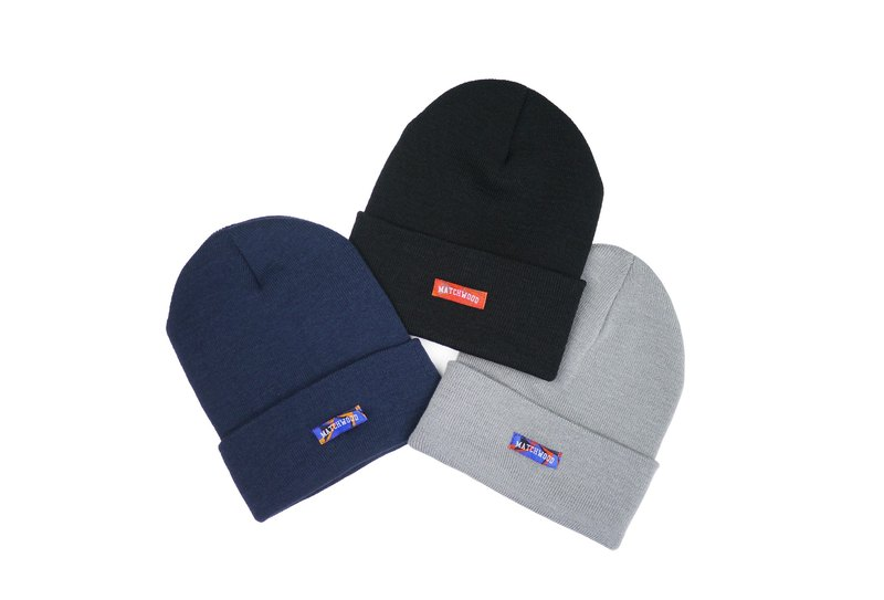 Matchwood Design Matchwood Simple Logo Beanie High Thickness Warm Knit Cap Classic Cap Reversible (Black/Blue) Season Limited New Year Gift
