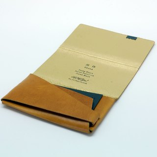Made Shosa [Japanese handmade vegetable tanned leather] business card holder / clip - color style / gold caramel