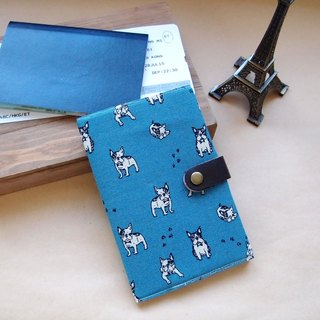 Passport Holder| French Bulldog| Blue