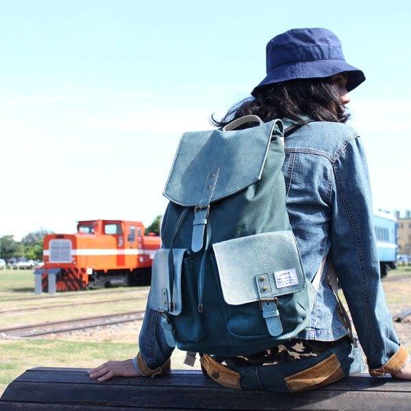 AMINAH-日系自然風綠色後背包【am-0249】