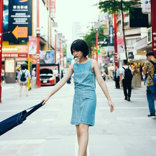 Stitched denim dress - sky blue