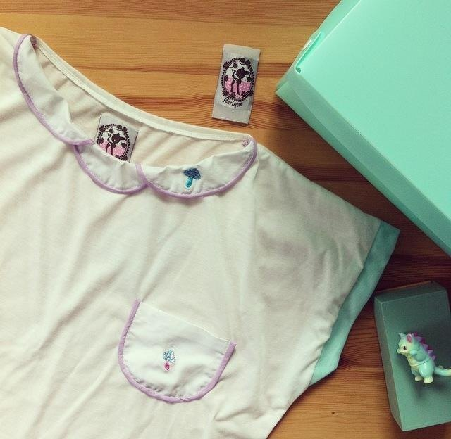 T-shirts striped mushroom crop Mint & Purple Mushroom Cropped Tee.