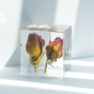 Red roses - three-dimensional square dried flowers decoration