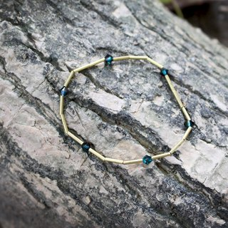 Blue eyes -half's half pure brass bracelet