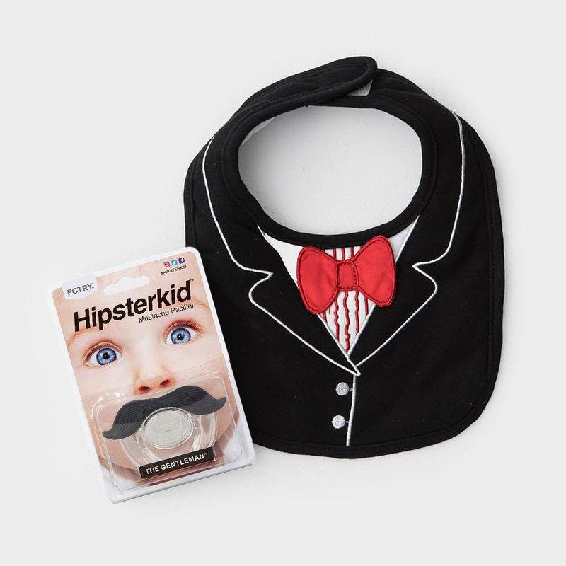 美國FMC X Hipsterkid 男嬰禮盒-紳士寶寶2件組 紅領結圍兜+奶嘴
