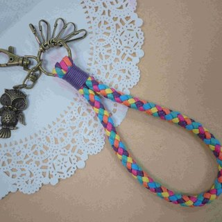 ~ M + Bear ~ vintage braided wire braided wax keychain key ring (colorful rainbow)
