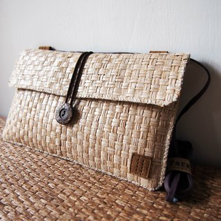 Paralife Custom Size White Brown Grass Woven Clutch / Baguette / Shoulder Bag
