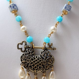 Chinese Lock Necklace - Blue Porcelain and Blue Stone with Crystal Pearl Necklace (N300)