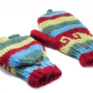 Valentine limit a knitted pure wool warm gloves / 2ways Gloves / Toe gloves / bristles gloves / knitted gloves - forest sky Ethnic Patterns