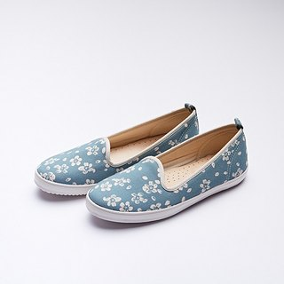 Comfortable Casual Flat Shoes Floral Cotton Cherry Blossoms Blue