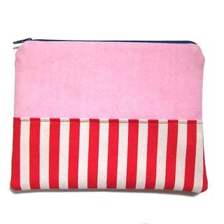 Lightweight Pencil / large zipper bag colorful stripes Series (Pink)