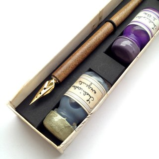 34pippo Classic Writing Set- Wooden Nibholder+ 3 Inks / Francesco Rubinato