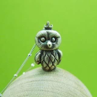 Moon Gift[Wonderland] Owl Baby 925 Silver Necklace