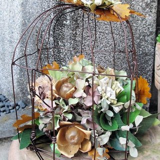 Love Bird Cage - dried flowers