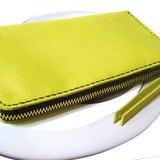 新色上架-旅行護鈔包長夾 手縫皮件 旅行好物-檸黃款(焦茶布銅鍊)-Fossil用皮