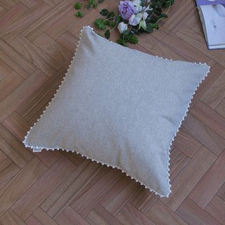 [Cover only] canvas chambray cushion cover pompon SQ