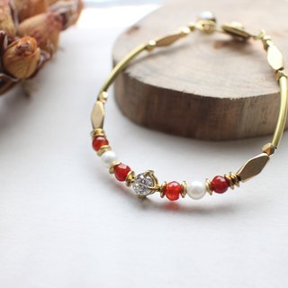 Honey Red- Agate  zircon brass handamde bracelet