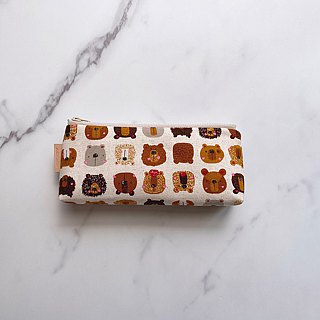 Handmade olive green suede fabric pencil case