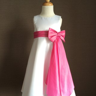 White Satin Empire Waist Dress with Rose Red Bow