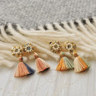 イヤリング/Rosette tassel clip-on-earrings