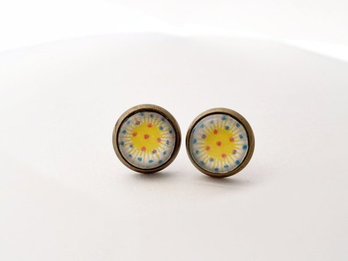 ♥ ♥ OldNew Lady- made a small gift bronze small round earrings - radioactive paragraph [hot sun]