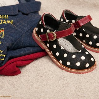 Beven Smiley. MIT children full leather Mary Jane doll shoes (horsehair paragraph - black) handmade shoes polka dot