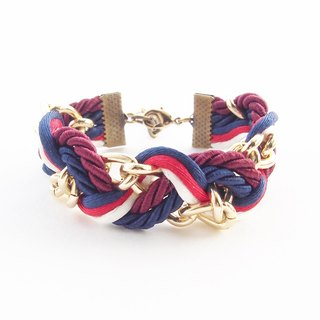 Navy blue and red wavy bracelet [Brass clasp]