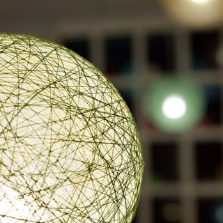 [Cream] Matcha hand-woven ball lampshade
