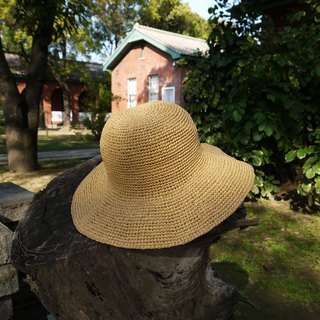 A mother's hand-made cap - summer paper rope cap light yellow / Mother's Day