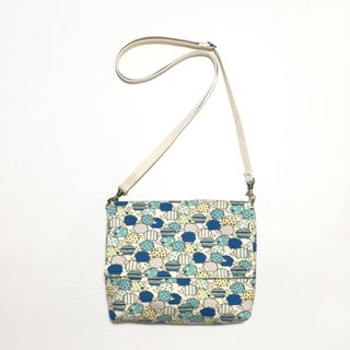 MINIxROSE blue hedgehog thick toast bag / oblique backpack / shoulder bag / free print name attached leather standard