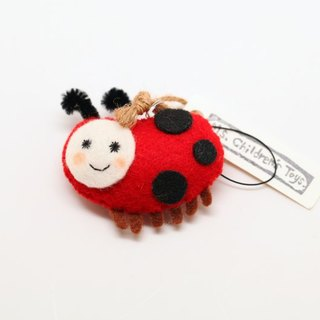 Hairy ladybird pendant (optional dust plug with earphones) / pin / magnet
