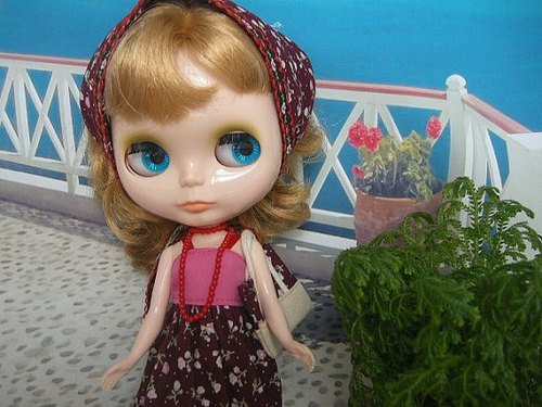 Blythe small cloth doll clothes even midsummer TOURS harness dress scarf handbag LD-5