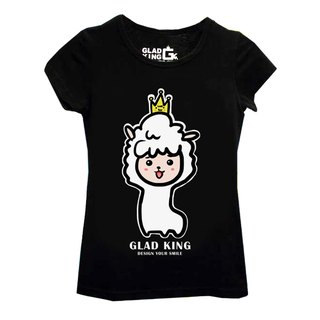 Grass mud horse store GLAD KING [black short-sleeved T-shirt king grass mud horse alpaca]