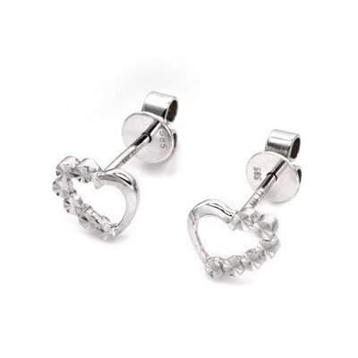 Hong Kong Design 14K / 585 white gold net gold heart-shaped earrings