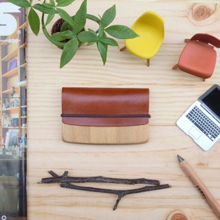 A touch of smile brown hand made custom log leather business card case