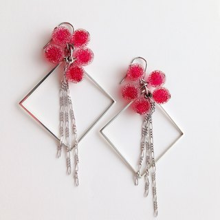 [Order production] earrings / Silver 950 SHIKAKU × icing bonbon: Red