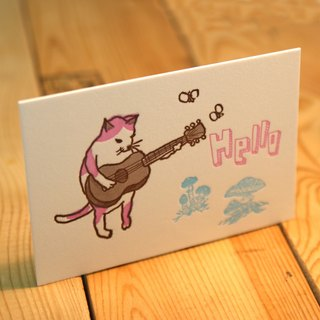 The cat is playing the guitar ---Letterpress card