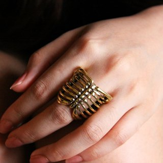 Human Ribcage Skeleton Ring - brass metal work