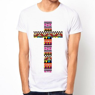 AZTEC CROSS T-shirt - white ethnic and religious cross design art