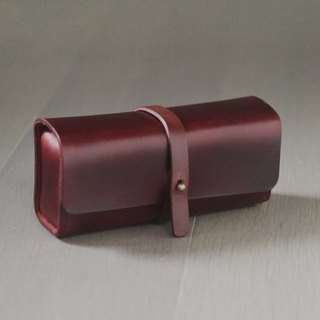 Burgundy color vegetable cow hide leather Pencil Case/Pen Pouch