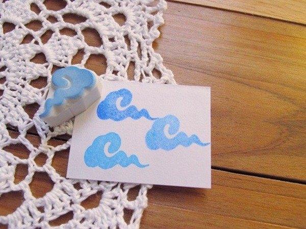 Apu手工章 中国风可愛小雲朵印章 手帐印章