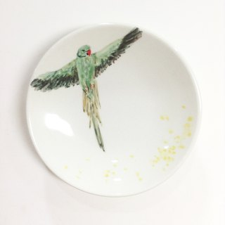 Wings of the green moon (little grass optional color) - parrot hand-painted small dish / soy sauce dish