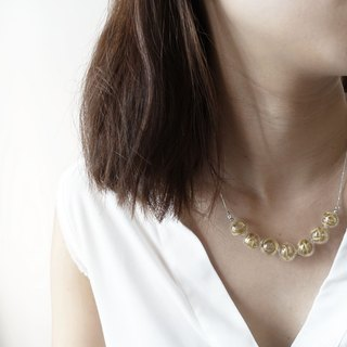 Simple Dots n' Line Glass Bubble Necklace - Deep Yellow
