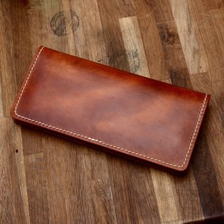Cans hand-made hand-made handmade Japanese long yellow-brown vegetable tanned leather wallet fiscal cloth genuine leather long wallet