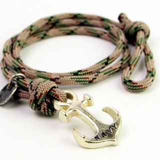 【METALIZE】Anchor with rope bracel Three-circle umbrella rope bracelet - Sea anchor section - Green Camo (Ancient Silver)
