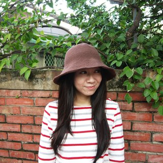 Mama の hand-made hat - handmade cotton rope crocheted hat / wide-brimmed hat - Coffee / gifts / Mother's Day
